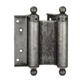 Дверная петля пружинная (барная) двухсторонняя с пешкой ALDEGHI 125x42x48 античное серебро