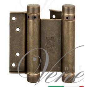 Дверная петля пружинная (барная) двухсторонняя ALDEGHI 125x42x48 античная бронза
