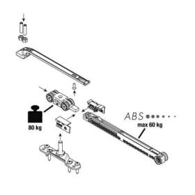 Комплект роликов Koblenz для раздвижной двери до 50 кг ABS на закрытие, для полотна от 600 мм (0500/2/1ABS)