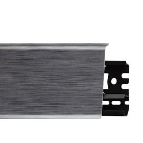 Плинтус пластиковый (ПВХ) Arbiton INDO 17 Аллюминиум 2500 х 70 х 26 мм, монтажная планка в комплекте