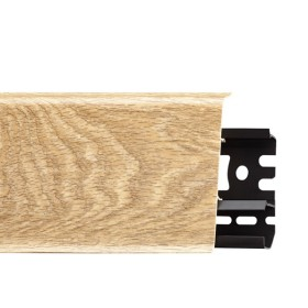 Плинтус пластиковый (ПВХ) Arbiton INDO 22 Дуб Валенсия 2500 х 70 х 26 мм, монтажная планка в комплекте