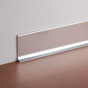 Плинтус алюминиевый анодированный напольный Diele ПЛ60, 501л серебро люкс, 2500х58,5х11,2мм
