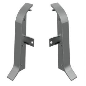 Заглушки для плинтуса алюминиевого напольного Diele ПЛ60, ПВХ, серые, (уп. 2шт. левая+правая)