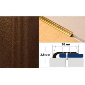 Алюминиевый напольный Порог A0 20х3,8 Крашеный порошковой эмалью Медный антик