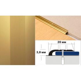 Алюминиевый напольный Порог A0 20х3,8 Анодированный Золото КЕ