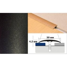 Алюминиевый напольный Порог B1 30х4,2 Крашеный Люкс КР черный металлик