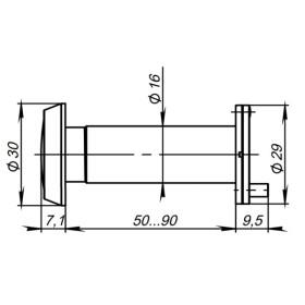 DVP3/NEW, 16/140/50x90 Punto (Пунто) (оптика пластик, угол обзора 140) CP Хром