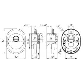 Броненакладка Armadillo (Армадилло) на ЦМ (от вырывания, 25 мм) ET/ATC-Protector 1-25SN-3 Матовый никель box