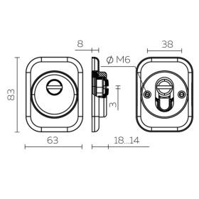 Броненакладка DEF Fuaro (Фуаро) 4286 SQ XL квадрат (хром) CP-8