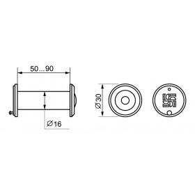 DVZ3, глазок, Fuaro (Фуаро) 16/200/50x90 (оптика пластик, угол обзора 200) CP Хром