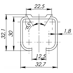 Верхняя направляющая Armadillo (Армадилло) Comfort R 60/80/1,8/3000 track (3 м)