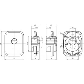 Броненакладка Armadillo (Армадилло) на ЦМ квадрат (от вырывания, 25 мм) ET/ATC-Protector 1-25(SQ) SC-14 Матовый хром
