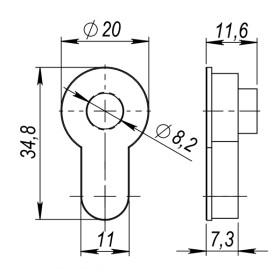 Вставка Armadillo (Армадилло) под шток для CYLINDER СP-8 хром