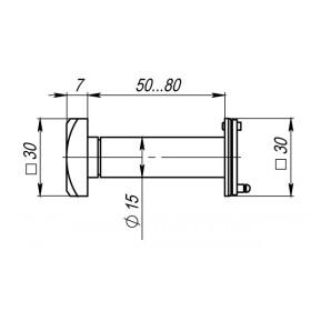 Глазок дверной Armadillo (Армадилло) КВАДРАТНЫЙ, DVG5 SQ, 16/50х80 СР Хром