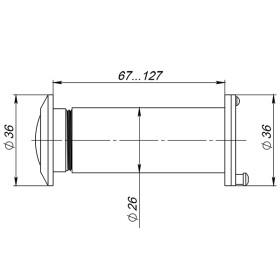 DVZ5, глазок, Fuaro (Фуаро) 25/180/70x125 (оптика стекло, угол обзора 180) CP Хром