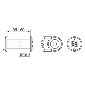DVZ1, глазок, Fuaro (Фуаро) 16/200/35x60 (оптика пластик, угол обзора 200) CP Хром (подвес)