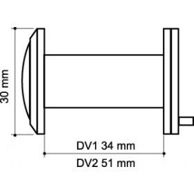 Глазок дверной, Armadillo (Армадилло) пластиковая оптика DV1, 16/35х60 CP Хром