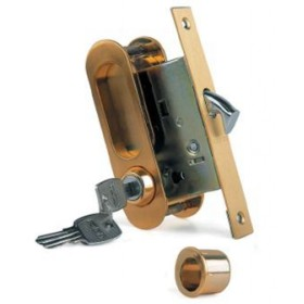 Ручка для раздвижных дверей с замочным механизмом Archie А-К 01/02-V1II матовое золото; защелка, фиксатор, ключ