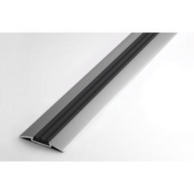 Профиль для ступеней входной группы ПС 08 анод серебро 01л с черной вставкой 470