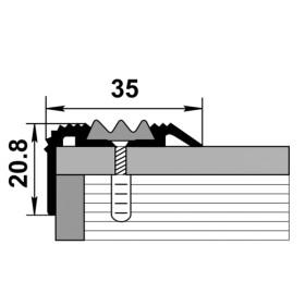 Профиль для ступеней входной группы ПУ 07-1 шоколад 03 с чёрной вставкой 470