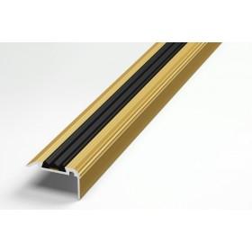 Профиль для ступеней входной группы ПУ 07-1 анод золото 02л с чёрной вставкой 470